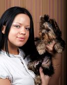 pic of yorkie  - Cute young girl with her Yorkie puppy - JPG