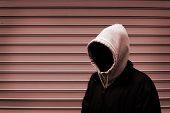 image of hooded sweatshirt  - Invisible man in the hood duotone picture - JPG