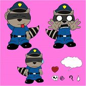 stock photo of policeman  - raccoon policeman cartoon set in vector format very easy to edit - JPG