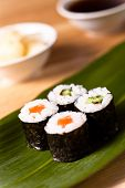 stock photo of souse  - delicious  sushi set with soy souse and ginger - JPG