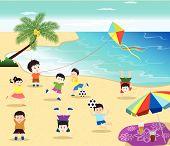 stock photo of tipi  - happy kids having fun on the beach - JPG