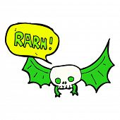 image of vampire bat  - cartoon spooky vampire bat - JPG