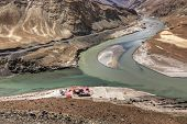 foto of jammu kashmir  - Scenic view of Confluence of Zanskar and Indus rivers  - JPG