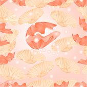 picture of pearl-oyster  - Seamless  texture   sea shells and pearls sea life background vector Illustration - JPG