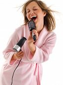 foto of housecoat  - Woman singing with hairbrush isolated on white background - JPG