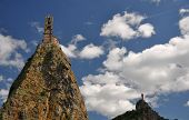 picture of michel  - The Chapel built on the top of a needle of volcanic lava called Rocher St Michel  - JPG