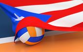 image of volleyball  - Flag of Puerto Rico with championship volleyball ball on volleyball court - JPG