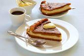 picture of pumpkin pie  - Cottage cheese and pumpkin pie with orange sauce - JPG