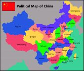stock photo of political map  - Illustration of a Political Map of China - JPG