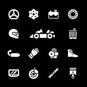 pic of karts  - Set icons of karting isolated on black - JPG