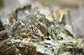 picture of iron pyrite  - Macrophoto Pyrite or iron pyrite is an iron sulfide with the chemical formula FeS2