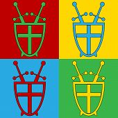 stock photo of longsword  - Pop art shield and swords symbol icons - JPG