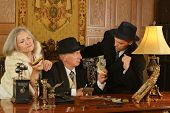 image of gangster  - Gangsters companions on the table in retro style - JPG