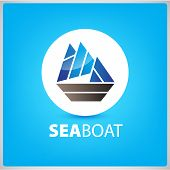 stock photo of brigantine  - vector sea blue boat - JPG