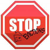 picture of eviction  - Illustration of a Red Signal STOP Evictions - JPG