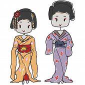 pic of geisha  - Image of tow isolated doodle style Japanese geisha - JPG