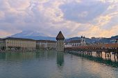 Chapel Bridge in Lucern a landmark destination in Switzerland poster