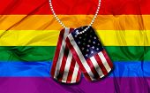 picture of army  - American army dogtags with rainbow flag or gay friendly flag background - JPG