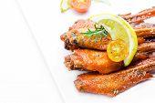stock photo of thai cuisine  - Fresh made chicken wing satay skewer Traditional thai cuisine - JPG