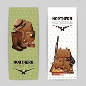 image of rifle  - Hunting banners vertical set with realistic backpack rifle and hunter boots isolated vector illustration - JPG