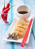 pic of soy sauce  - Fried asian wonton with soy sauce - JPG