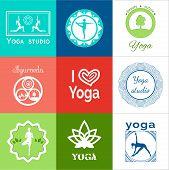 Set of yoga logos. poster
