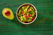 picture of poblano  - Guacamole with avocado and tomatoes mexican food - JPG