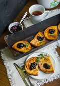 picture of french-toast  - Homemade french toast with jam and fresh mint - JPG