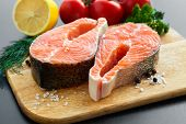 stock photo of salmon steak  - close - JPG