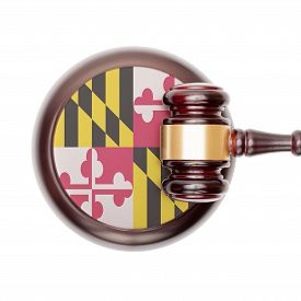stock photo of maryland  - Wooden judge gavel with USA state flag on sound block  - JPG