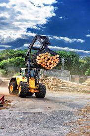 stock photo of logging truck  - Forklift truck hauling logs at sawmill - JPG