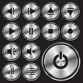 Round metal media-player button.