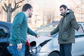 Two Men Arguing After A Car Crash Accident poster