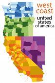 Постер, плакат: Подробные векторные карты Западного побережья США