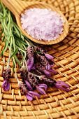 lavender bath salt and some fresh lavender - beauty treatment