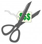 A vector price tag on a string cut by scissors- the $ text can be easily edited