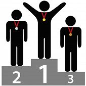 People get gold silver bronze medals on three tier award podium platforms for first second third pla