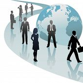 picture of person silhouette  - Group of international business people walk a future world path of progress - JPG