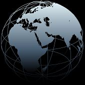 stock photo of eastern hemisphere  - Map of Earth on a globe symbol with East West lines on a black background - JPG