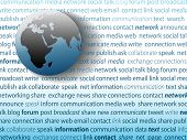picture of eastern hemisphere  - World globe and SOCIAL MEDIA network connection words on a page of text background - JPG
