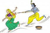 image of radha  - Calligraphic Krishna Playing Holi with Radha - JPG