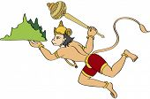 stock photo of hanuman  - Lord Hanuman Carrying Sanjeevani Mountain and flying - JPG