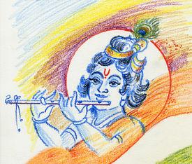 stock photo of mahabharata  - raster Lord Krishna - JPG