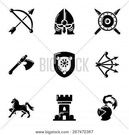 Knight Era Icons Set Simple