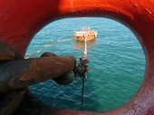 Offshore Oil Loading From Single Buoy Mooring Into Oil Tanker. Single Buoy Mooring Serves As Mooring poster