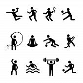 Sport Man Vector Flat Icons Set, Fitness Logo. Black Badges Football, Basketball, Volleyball, Tennis poster