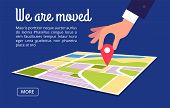 Moving Concept. Changing Address, New Location On Navigation Map Vector Background. Illustration Of  poster