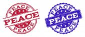 Grunge Peace Seal Stamps In Blue And Red Colors. Stamps Have Distress Style. Vector Rubber Imitation poster