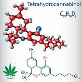 Tetrahydrocannabinol (thc) - Structural Chemical Formula And Molecule Model. Is The Principal Psycho poster