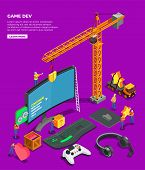 Game Development Isometric Composition With Big Screen Keyboard Joystick For Video Game Headphones A poster